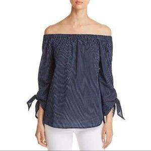 Navy Pinstriped Off Shoulder Blouse